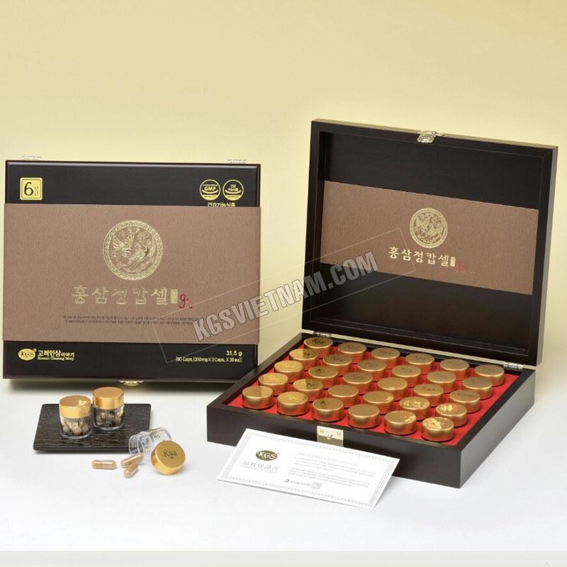 Viên hồng sâm G3 KGS Hàn Quốc hộp gỗ 90 viên