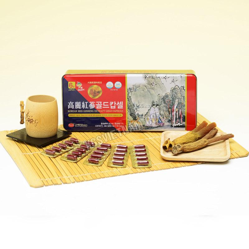 Viên Hồng Sâm Hàn Quốc KGS được nhập khẩu chính hãng từ Hàn Quốc về Việt Nam với công dụng tăng cường sinh lực, nâng cao sức khỏe, sức đề kháng cho cơ thể